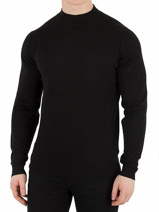 John Smedley Black Harcourt Turtle Neck Knit