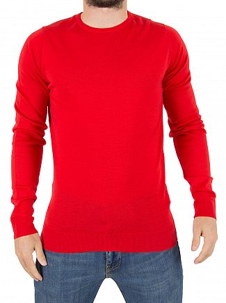 John Smedley Bevin Red Lundy Longsleeved Knit