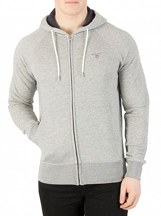 Gant Grey Melange Original Full Zip Logo Hoodie