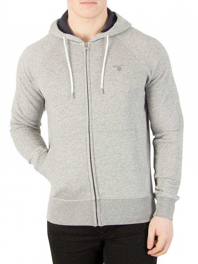 Gant Grey Melange Original Full Zip Logo Hoodie