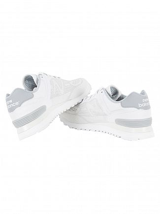 New Balance White/Grey 574 Trainers