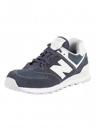 New Balance Navy/White 574 Trainers