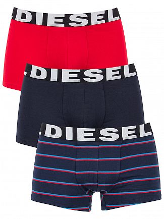 Diesel Navy Stripe / Black / Red 3 Pack Shawn Trunks