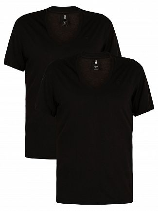 G-Star Solid Black 2 Pack V-Neck Logo T-Shirts
