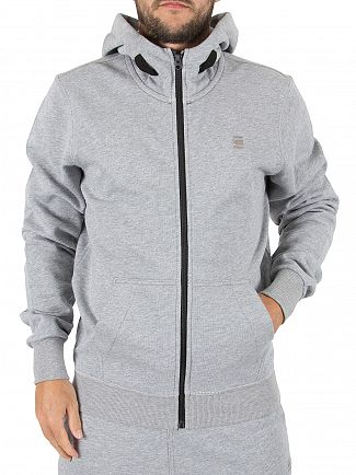 G-Star Grey Heather Core Logo Zip Hoodie