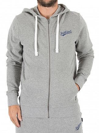 Jack & Jones Light Grey Melange Original Mills Logo Zip Hoodie