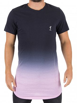 Religion Navy/Pink Block Fade Long Logo T-Shirt
