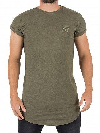 Sik Silk Khaki Rolled Sleeve Logo T-Shirt