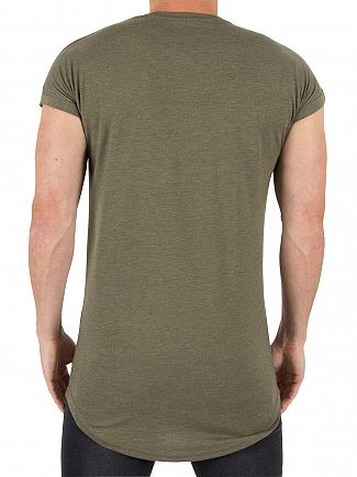 Sik Silk Khaki Rolled Sleeve Logo T-Shirt