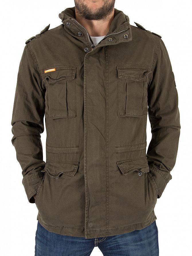 Superdry Forest Khaki Classic Rookie Military Logo Jacket