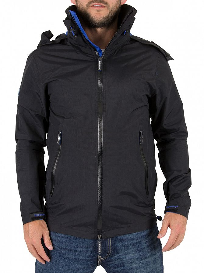 Superdry Black/Deep Royal  Hooded Cliff Emboss Hiker Logo Jacket