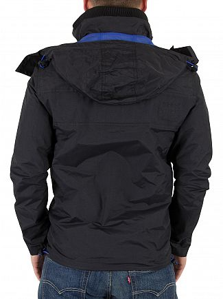 Superdry Black/Deep Royal  Hooded Cliff Emboss Hiker Logo Jacket