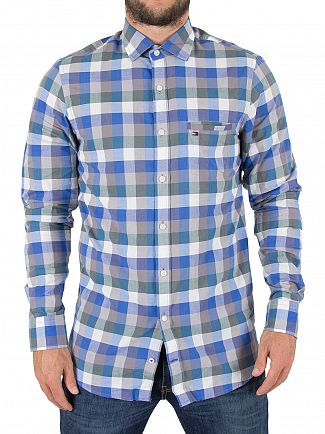 Tommy Hilfiger Silver Filigree / Regatta Lester Check Pocket Logo Shirt