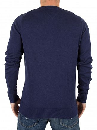 Tommy Hilfiger Maritime Blue Heather Plaited Silk Logo Knit