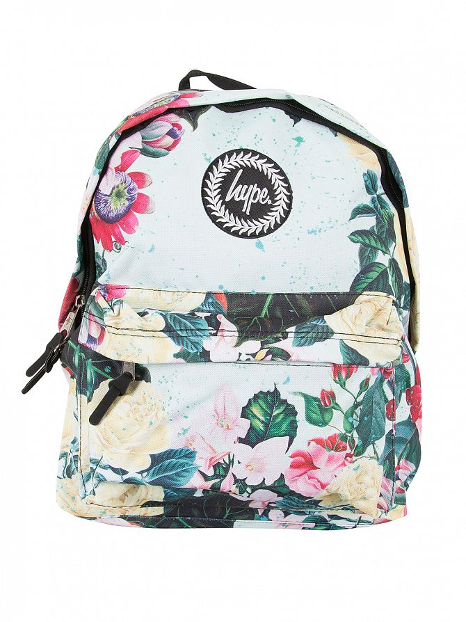 Hype Multi Mint Floral Logo Backpack