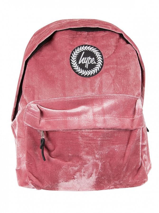 Hype Dusty Pink Velour Logo Backpack