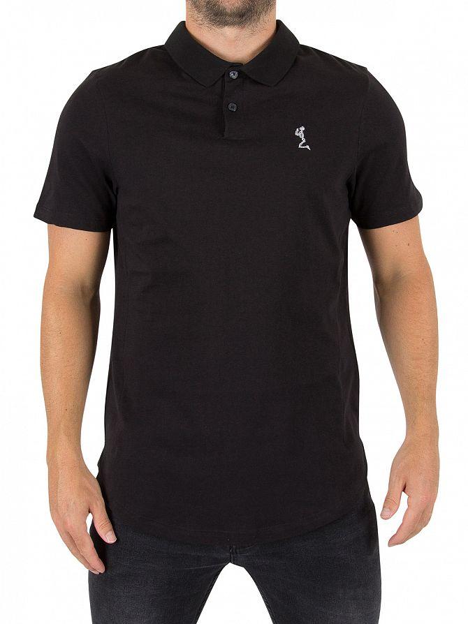 Religion Black Curved Hem Logo Polo Shirt