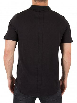 Religion Black Curved Hem Logo Polo Shirt