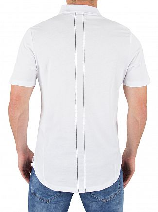 Religion White Curved Hem Logo Polo Shirt