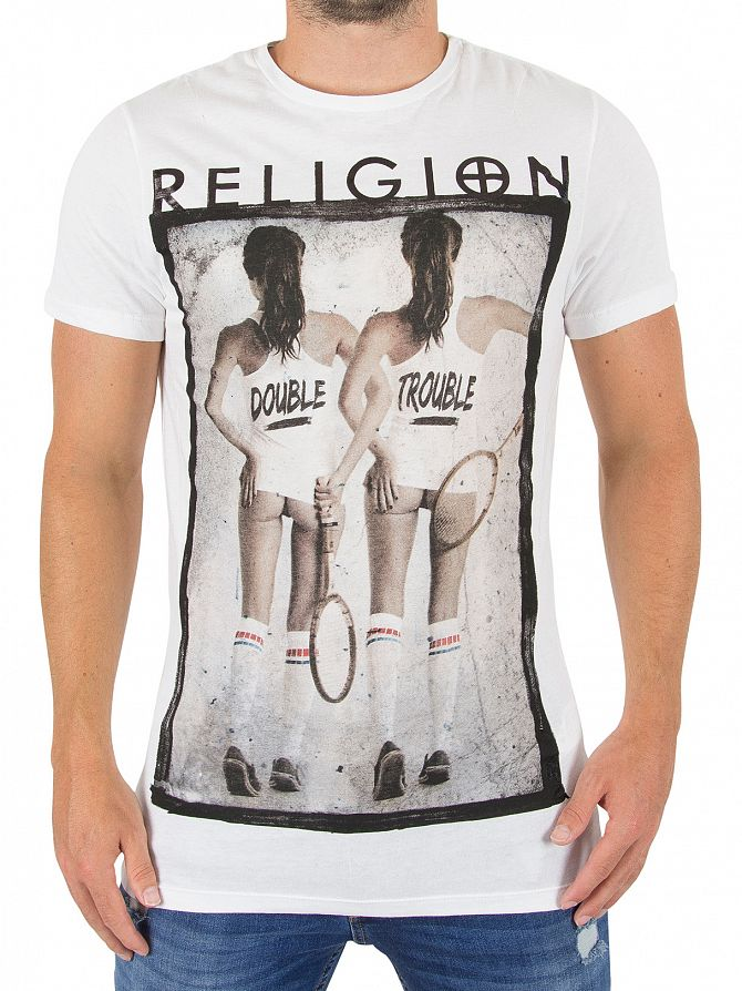 Religion White Double Trouble Graphic T-Shirt