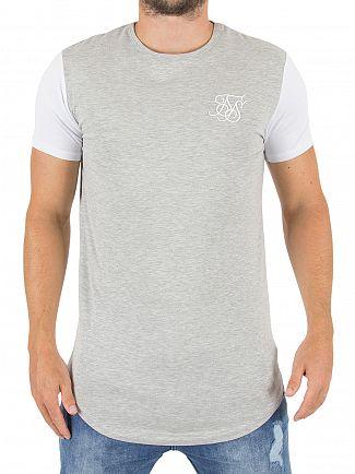 Sik Silk Grey Marl/White Contrast Gym Logo T-shirt