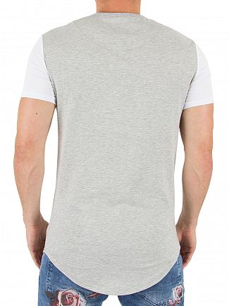 Sik Silk Grey Marl/White Contrast Gym Logo T-shirt
