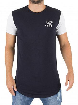 Sik Silk Navy/White Curved Hem Logo T-shirt
