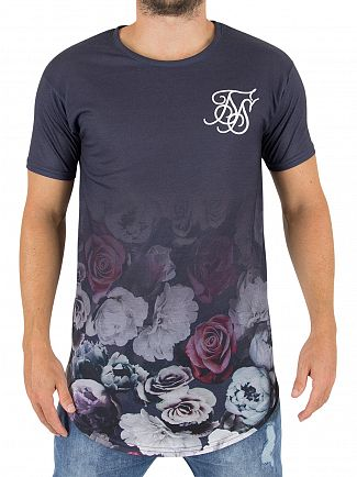 Sik Silk Navy Nautic Floral Fade Logo T-shirt