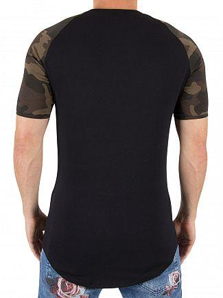 Sik Silk Black/Camo Raglan Logo T-shirt