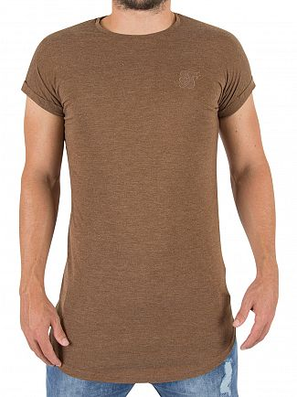 Sik Silk Brown Rolled Sleeve Logo T-shirt