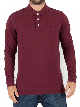 Tommy Hilfiger Denim Windsor Wine Longsleeved Logo Poloshirt
