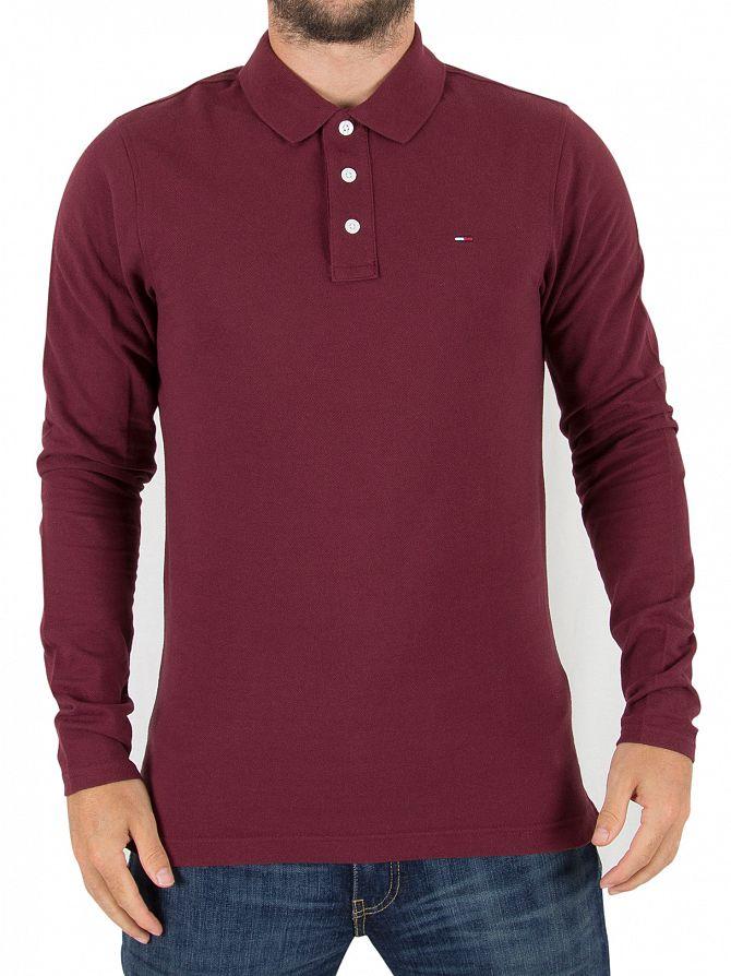 Tommy Hilfiger Denim Windsor Wine Longsleeved Logo Poloshirt
