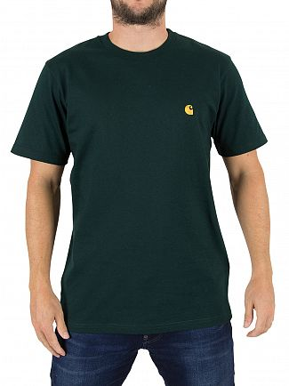 Carhartt WIP Parsley/Gold Chase Logo T-Shirt