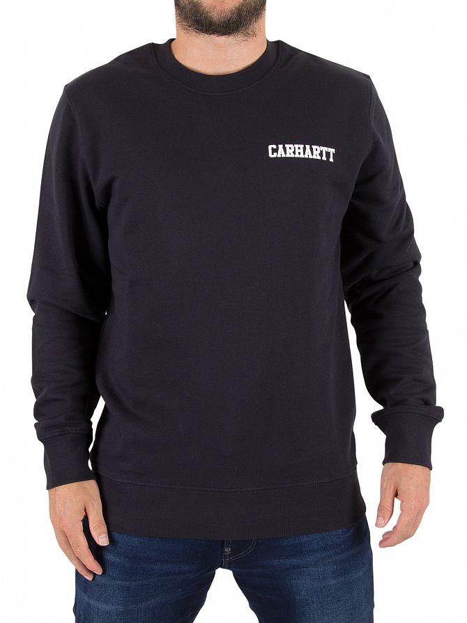 Carhartt WIP Dark Navy/White College Script Logo Sweatshirt