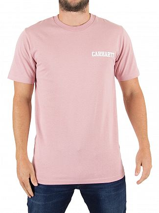 Carhartt Wip Soft Rose/White College Script Logo T-Shirt
