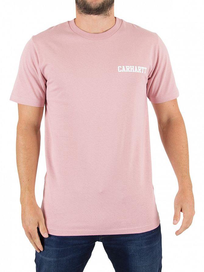 Carhartt WIP Soft Rose/White College Script Logo T-Shirt