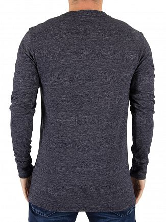 G-Star Dark Naval Blue Heather Classic Longsleeved Logo T-Shirt