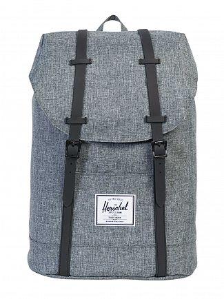 Herschel Supply Co Raven Crosshatch/Black Rubber Retreat Straps Backpack