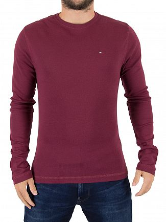Tommy Hilfiger Denim Windsor Wine Original Longsleeved Logo T-Shirt