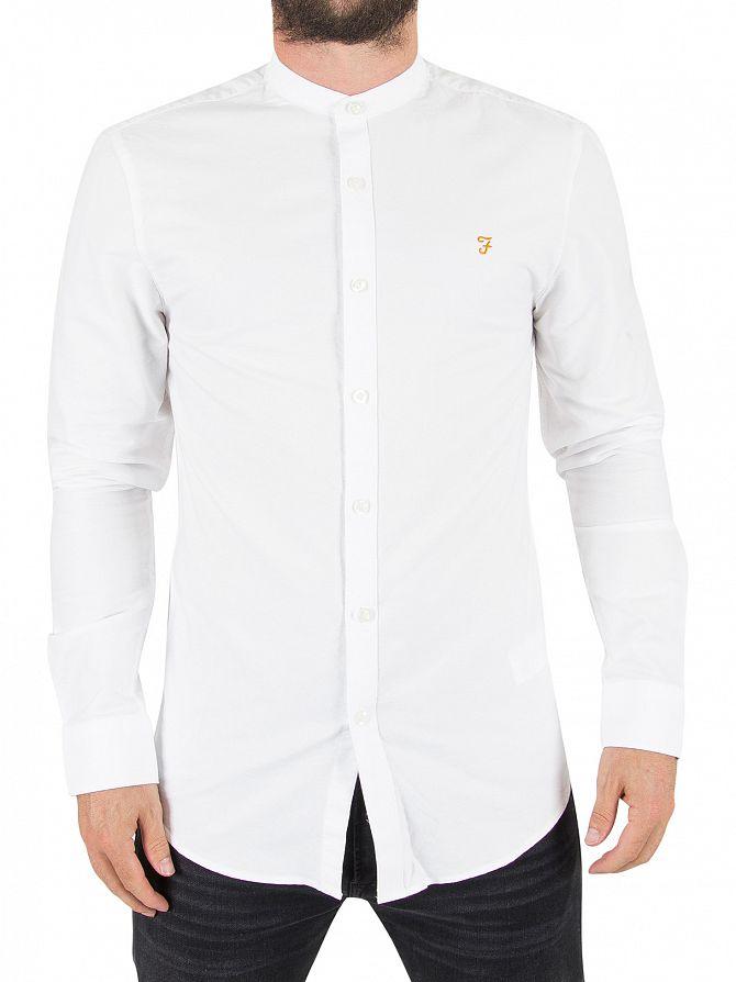 Farah Vintage White Brewer Longsleeved Slim Fit Grandad Shirt