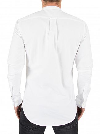 Farah Vintage White Brewer Longsleeved Slim Fit Grandad Shirt