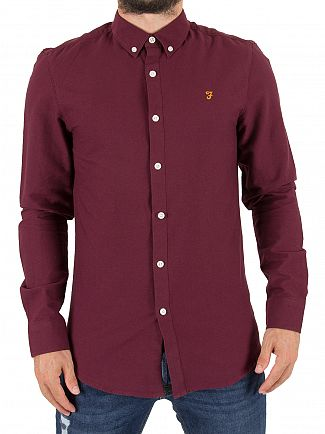 Farah Vintage Bordeaux Brewer Slim Longsleeved Shirt
