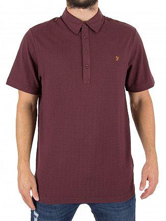 Farah Vintage Red Chelsea Jacquard Logo Polo Shirt