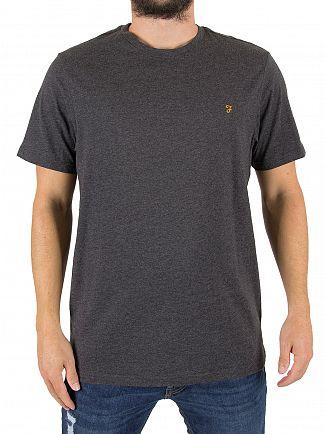 Farah Vintage Dark Asphalt Marl Denny Slim Fit Logo T-Shirt
