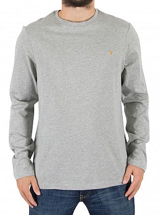 Farah Vintage Rain Heather Denny Slim Longsleeved Logo T-Shirt