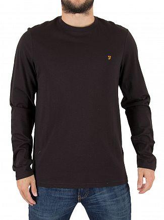Farah Vintage Black Denny Slim Longsleeved Logo T-Shirt