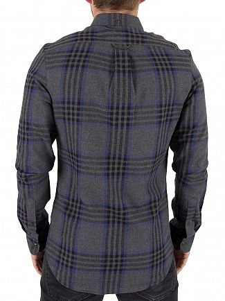 Farah Vintage Grey Marl Port Slim Fit Checked Shirt