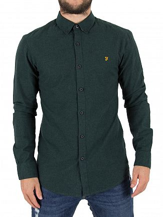 Farah Vintage Woodland Pine Steen Slim Fit Logo Shirt