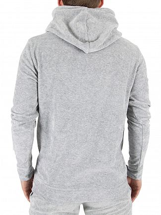 Gym King Grey Velour Marled Logo Hoodie