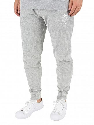 Gym King Grey Velour Marled Logo Joggers